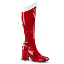 "Sexy 3"" Block High Heel Red & White Gogo Dancer Knee High Costume Boots - $43.65"
