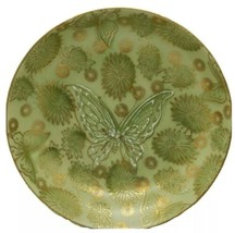 8 DOROTHY THORPE MID CENTURY POTTERY GREEN BUTTERFLY COUPE SALAD DESSERT... - $97.02