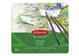 Derwent Academy Watercolor Pencils, 3.3mm Core, Metal Tin, 24 Count (230... - $39.59