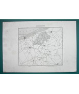 1846 MAP - FRANCE Belgium Environs of Hondschoote Dunkirk Veurne Poperinge - $14.85