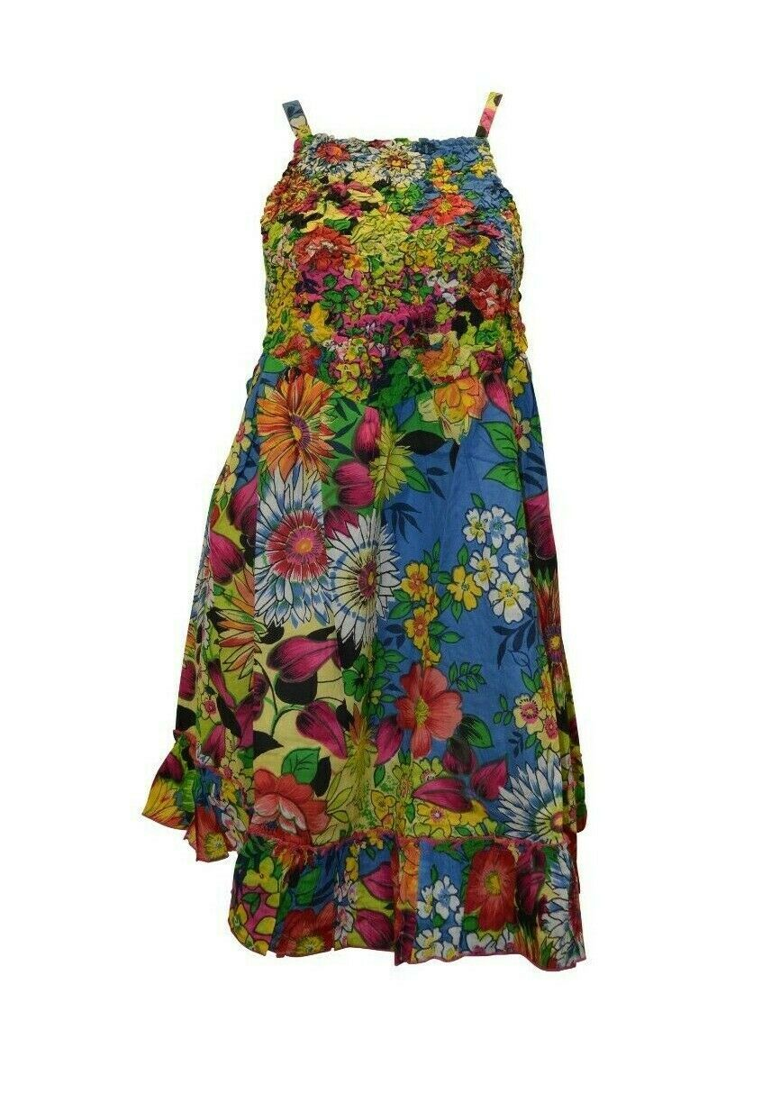 Primary image for 100% COTTON BOHO HIPPIE VINTAGE LAGENLOOK ELASTICATED FLORAL SHORT DRESS P4