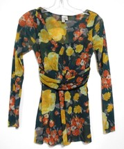 Daisy  Clover  Large Black Orange Yellow Scoop Neck Stretch Long sleeve Top - $9.47