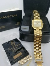 Vintage Halston Quartz Analog Mens Watch With Diamond Chip - $74.24