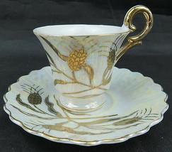 Vintage BETSON HAND PAINTED Tea Cup & Saucer Gold Wheat Porcelain - $30.00