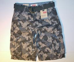 Levi's Boys Charcoal Beachnik Camo Belted Cargo Shorts Size 12 NWT - $14.99