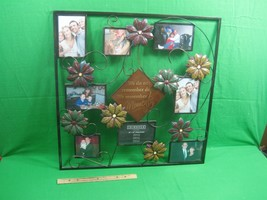 Metal Picture Frame Collage Holds Eight (8) Photos Nice Saying with Flowers - $28.01