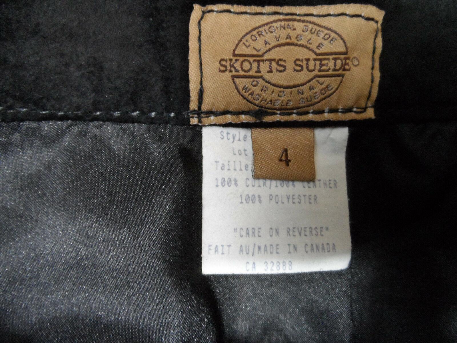 SKOTTS SUEDE Washable Leather Skirt sz 4 Black Midi Straight pencil fit Canadian image 7