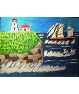 Rough Seas On Atlantic Coast of Newfoundland Canada Original Painting Fr... - $28.00