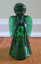 Fenton Art Glass Emerald Holiday Green Boy Angel Christmas Supplement 1990's - $70.09