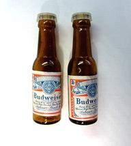 Vintage Miniature Budweiser Beer Bottle Brown Glass Salt & Pepper Shakers - $12.99