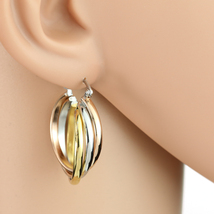 Simple Twisted Tri-Color Silver, Gold & Rose Tone Hoop Earrings- United Elegance - $13.99
