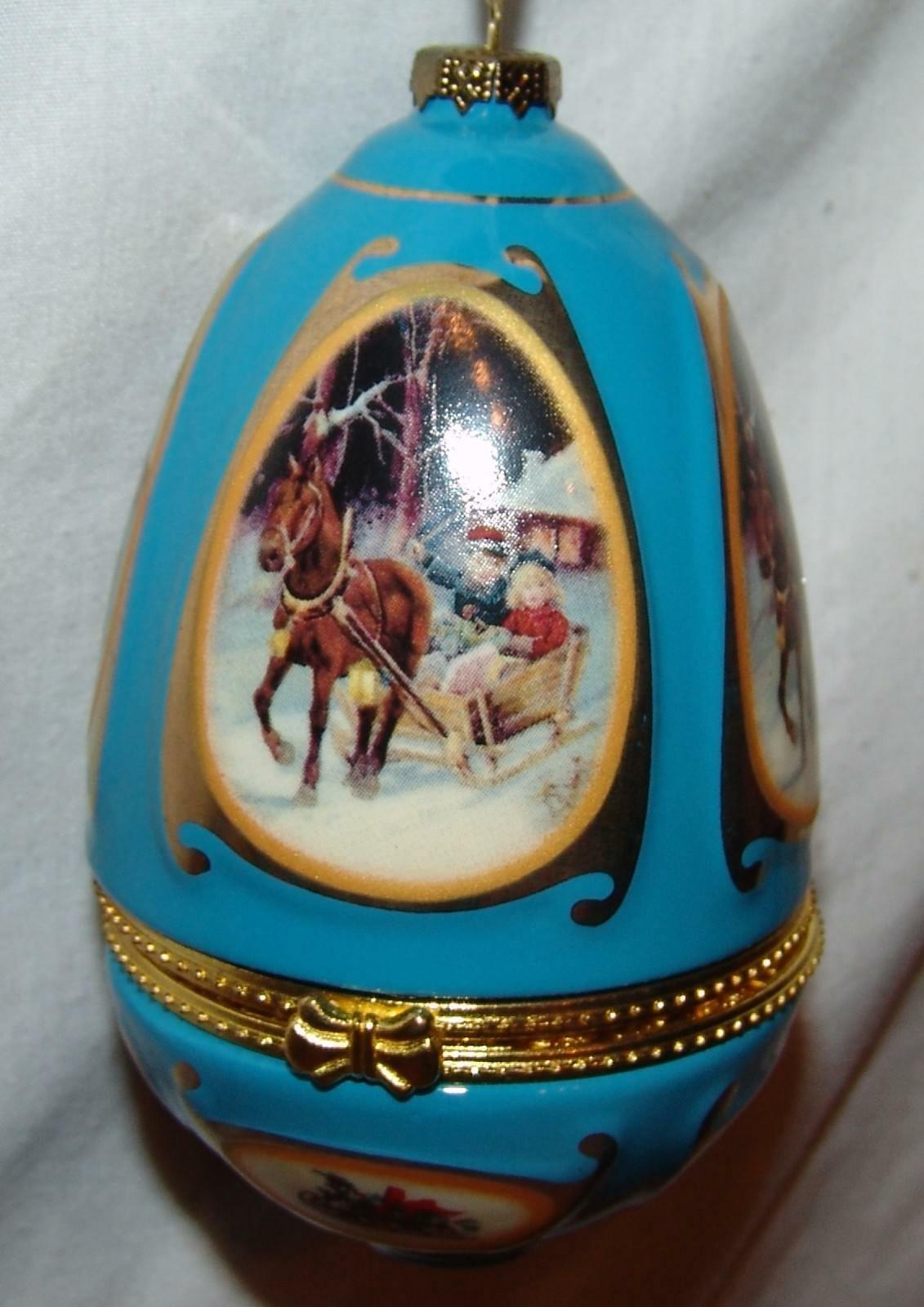 Musical Ornament Trinket Box Egg Christmas Sleigh Ride Blue Winter Snow