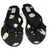 KATE SPADE Nova Thong Flip Flops Sandals Black White Yellow Gold Flower ... - $25.00