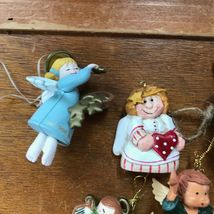 Estate Lot of Small Plastic & Carved Resin ANGEL Christmas Tree Ornaments – one  image 3