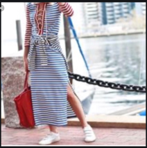 J. Crew Nautical Striped Maxi Dress with Rope Lacing – size Extra Small - $31.79