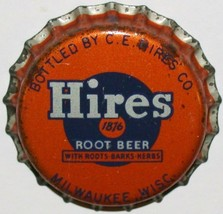 Vintage soda pop bottle cap HIRES ROOT BEER Milwaukee cork unused new ol... - $7.99