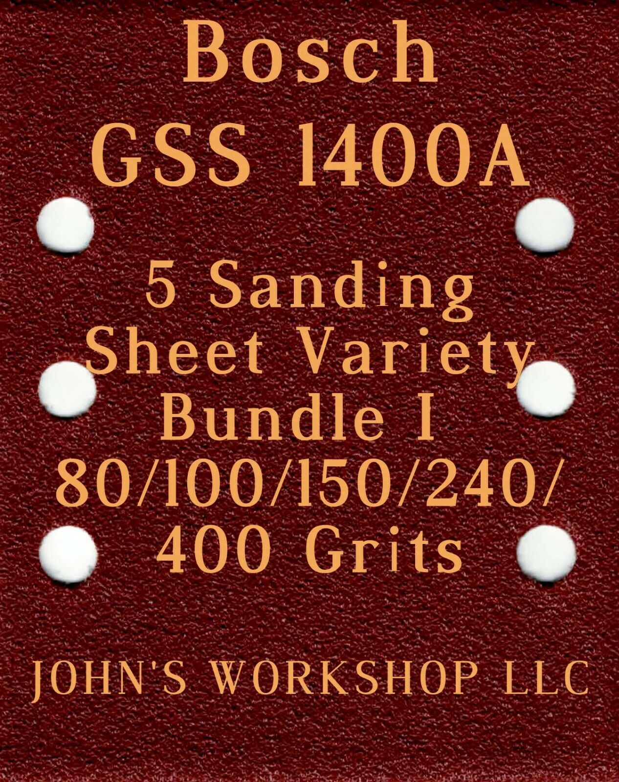 Primary image for Bosch GSS 1400A - 80/100/150/240/400 Grits - 5 Sandpaper Variety Bundle I