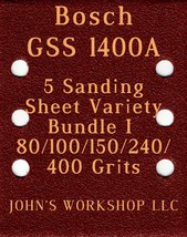 Bosch GSS 1400A - 80/100/150/240/400 Grits - 5 Sandpaper Variety Bundle I - $7.53