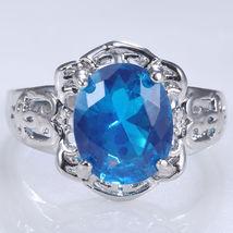 Women Fashion White GP 925 Silver Blue Topaz Ring Wedding Engagement Jew... - $75.99