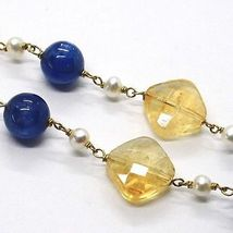 SILVER 925 NECKLACE, YELLOW, QUARTZ CITRINE FACETED, KYANITE, PEARLS ROUND image 3
