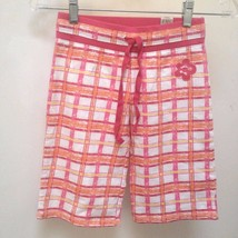 Limited Too 8 Cropped Pants Red Orange Plaid Capri Girls - $12.72
