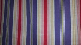 PURPLE HOT PINK White Cotton Stripe Upholstery Drapery Fabric, 20-12-11-073 - $5.49