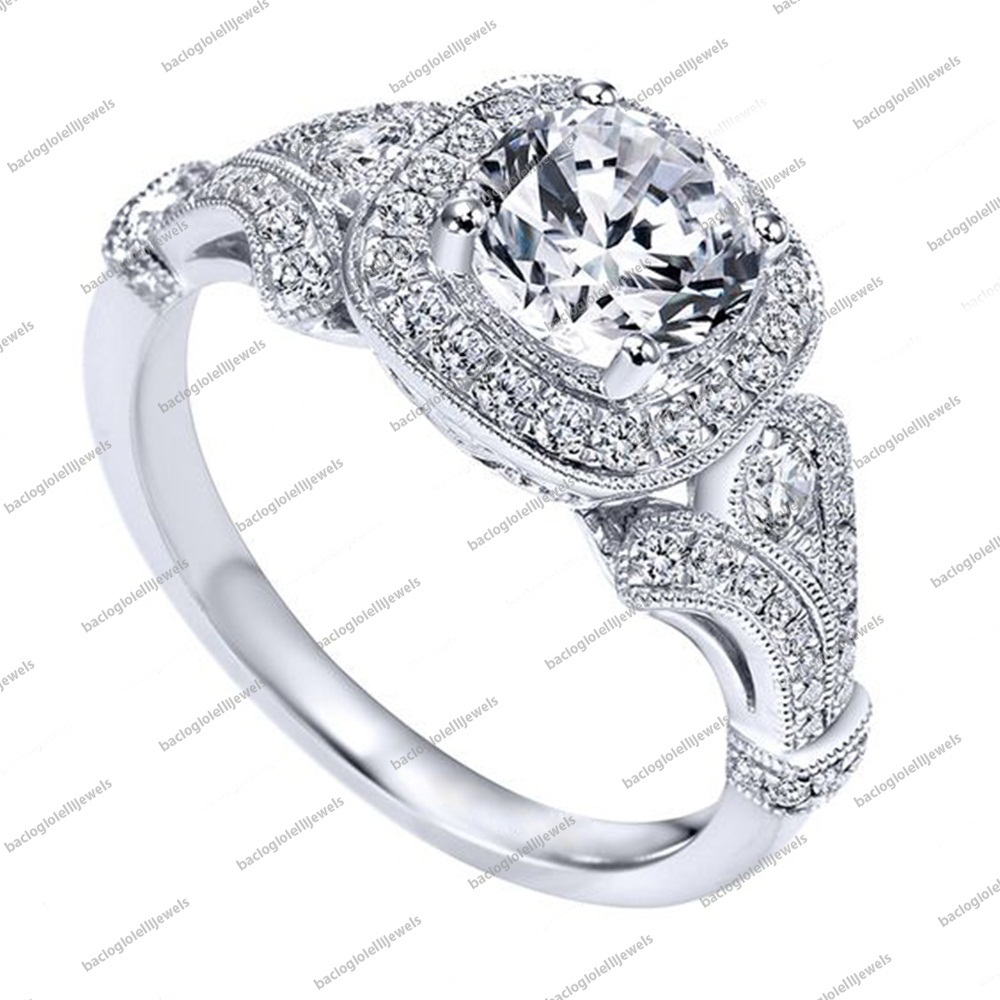 Primary image for Round Cut CZ 925 Sterling Silver White Gold Plated Bridal Engagement Band Ring