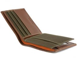 Timberland Men's Hunter Leather Waxed Canvas Credit Card ID Passcase Wallet image 13