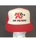Vintage Trucker Hat K&N Air Filters Automotive SnapBack Cap Red and White - $28.06