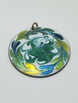 Copper Enamel White Teal Green Swirl Round Pendant Vintage - $15.00