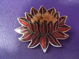 Vintage MMA Metropolitan Museum of Art 1985 Enamel Lotus Flower Brooch P... - $26.73