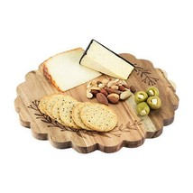 Rustic Cheese Board, Floral Etched Wood Platter Serving Elegant Cheese B... - $33.79