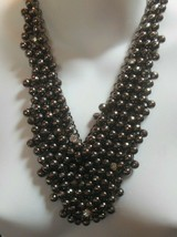 Vintage Silver-tone Grey Bead Cluster Dangle Chain Bib Runway Necklace H... - $54.45