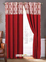 4-Pc Floral Circles Dots Metal Grommet Curtain Set Red Ivory Valance Sheer Liner - $40.89