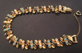 Vintage Art Enamel Seed Pearls And Faux Turquoise Bracelet - $39.14