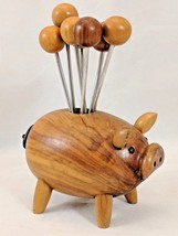 Vintage Oliv-Art Wooden Pig with 8 Orb Ball Appetizer Olive Skewers Fork... - $48.37