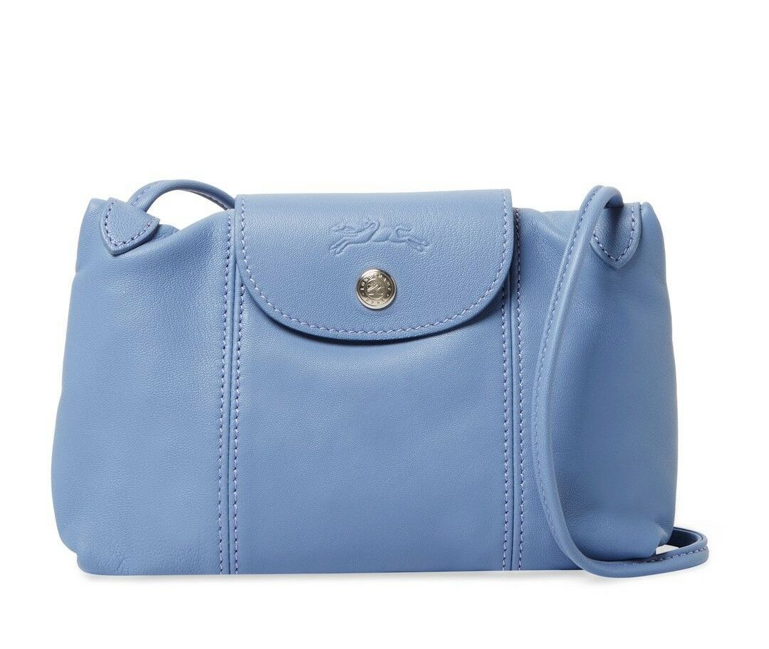 Primary image for NWT Longchamp Le Pliage Cuir Sml Leather Crossbody Bag BLUE MIST FRANCE AUTHENTC