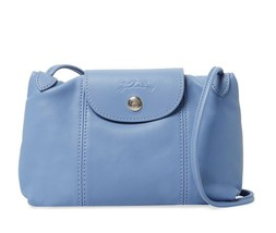 NWT Longchamp Le Pliage Cuir Sml Leather Crossbody Bag BLUE MIST FRANCE ... - $215.00
