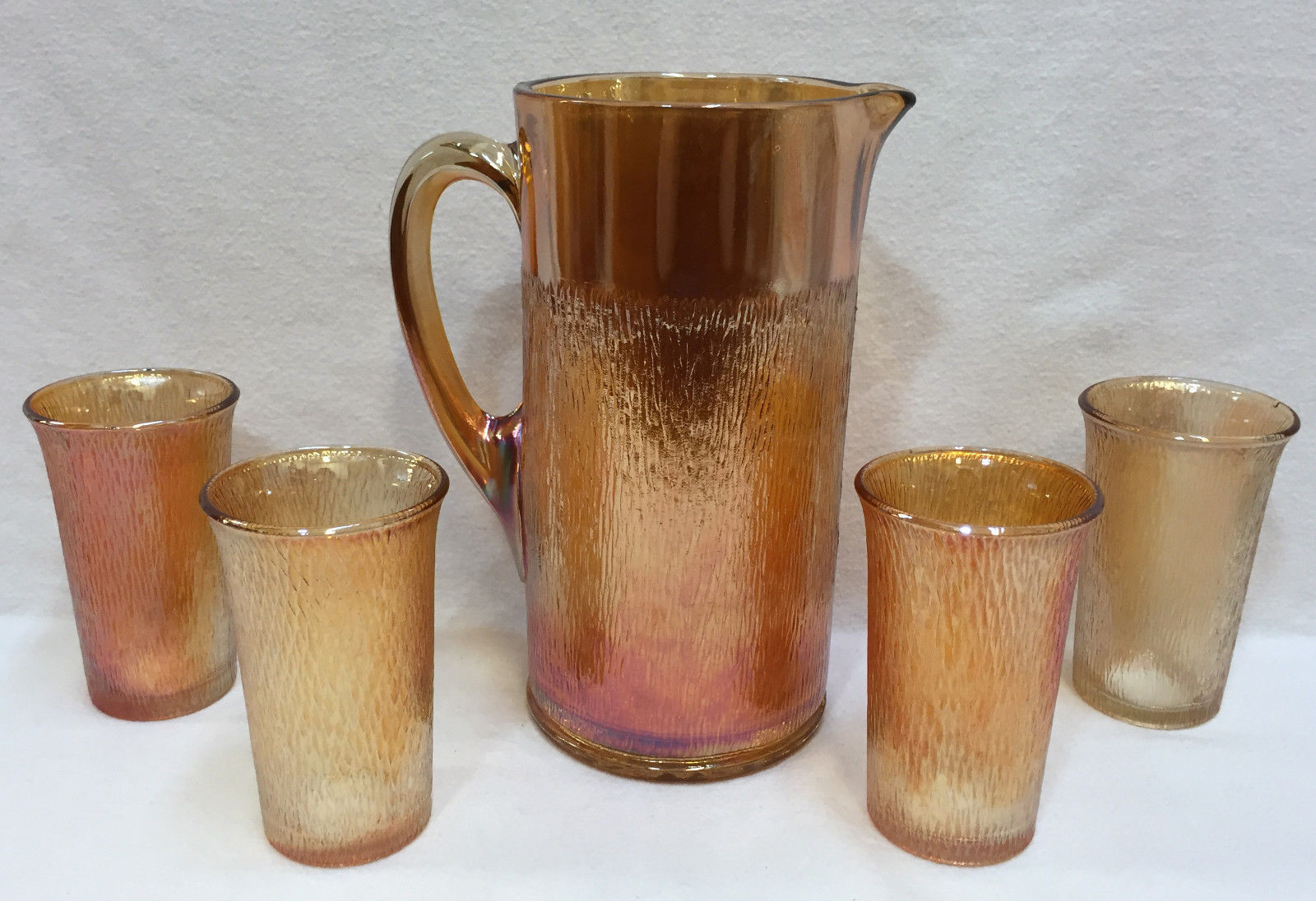 Primary image for Pitcher & Glass Set Marigold Amber Carnival Glasses Birch Pattern Imperial 5 pcs