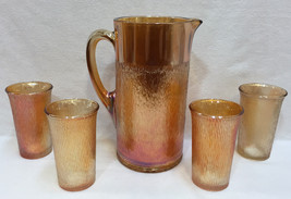 Pitcher & Glass Set Marigold Amber Carnival Glasses Birch Pattern Imperi... - $34.64