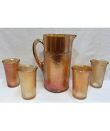 Pitcher & Glass Set Marigold Amber Carnival Glasses Birch Pattern Imperial 5 pcs - $34.64