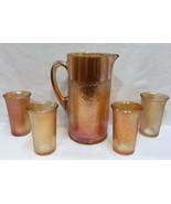 Pitcher & Glass Set Marigold Amber Carnival Glasses Birch Pattern Imperial 5 pcs
