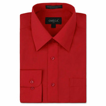 Omega Italy Men Red Classic French Convertible Cuff Solid Dress Shirt - L