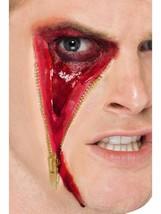 Zipper Face Halloween Fake Latex Joke Scar Fancy Dress Zombie Special FX Make Up - $16.88