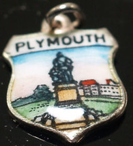 Sterling Silver Vintage Crest Charm Enamel Plymouth - $14.30