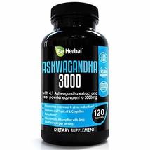 BE HERBAL Premium Organic Ashwagandha 3000mg with BioPerine - Stress Rel... - $28.93