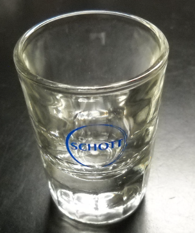 Schott Shot Glass Clear Glass with Heavy Base Double Size Blue Schott Logo