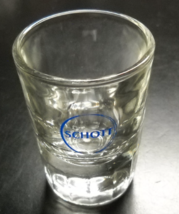 Schott Shot Glass Clear Glass with Heavy Base Double Size Blue Schott Logo - $7.99