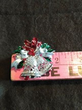 Vintage Christmas Pin Enamel Bells Silvertone changeable necklace/pin older - $24.74