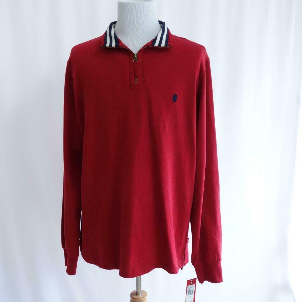 Primary image for IZOD Sueded Jersey Zip Polo Red Mens Sz L Tall